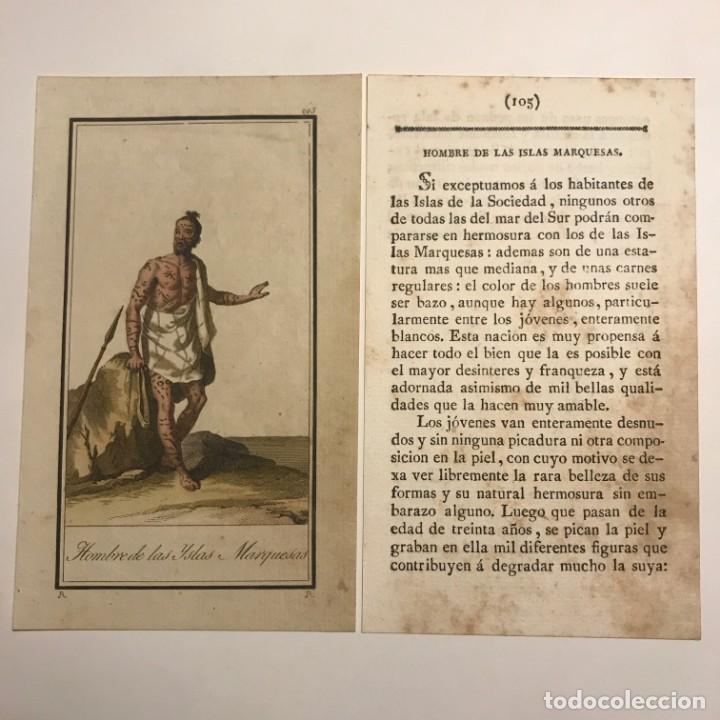 HOMBRE DE LAS ISLAS MARQUESAS 1790-1800 GRABADO ILUMINADO A MANO (Arte - Grabados - Antiguos hasta el siglo XVIII)