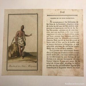 Hombre de las islas Marquesas 1790-1800 Grabado iluminado a mano
