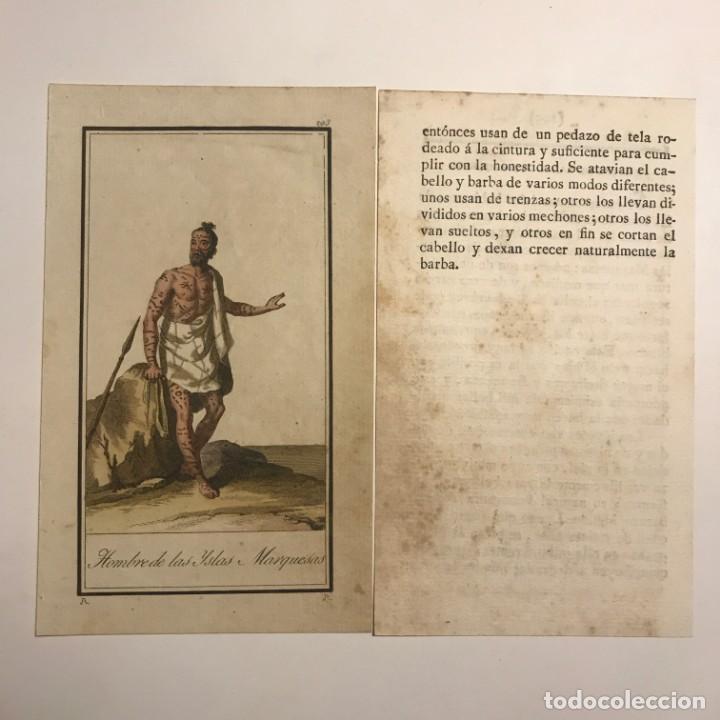 Arte: Hombre de las islas Marquesas 1790-1800 Grabado iluminado a mano - Foto 2 - 148331622