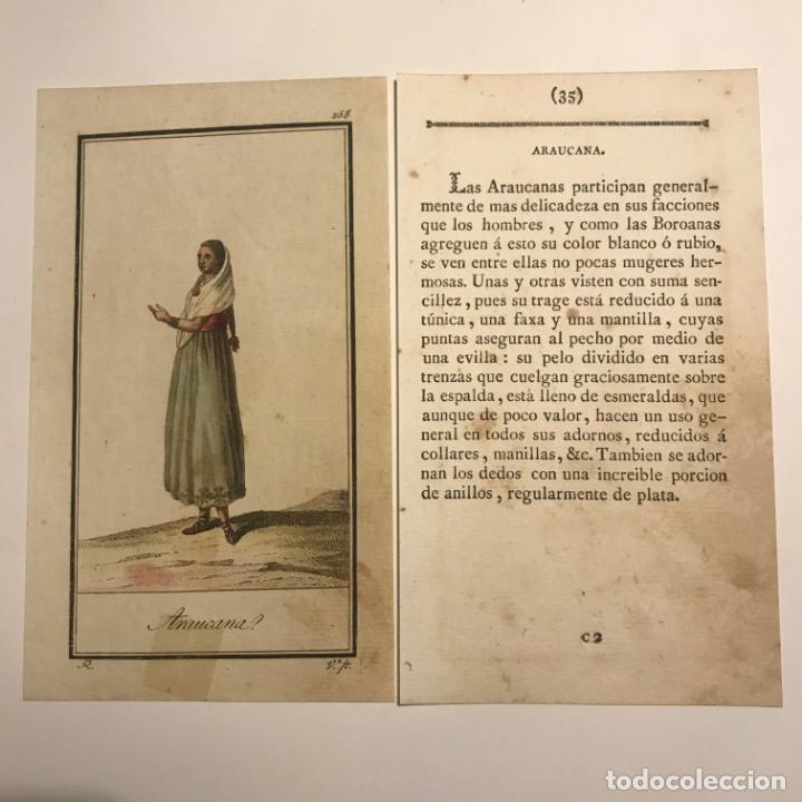 ARAUCANA 1790-1800 GRABADO ILUMINADO A MANO (Arte - Grabados - Antiguos hasta el siglo XVIII)