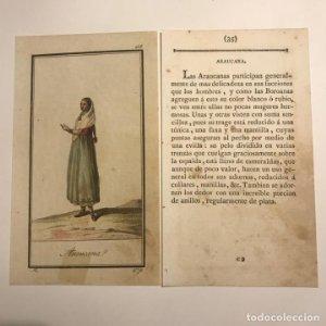 Araucana 1790-1800 Grabado iluminado a mano