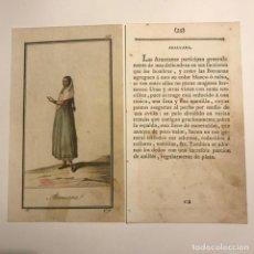 Arte: ARAUCANA 1790-1800 GRABADO ILUMINADO A MANO. Lote 148331670