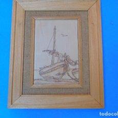 Arte: PIROGRABADO SOBRE MADERA, ANTIGUO, BIEN CONSERVADO, LIMPIO Y BONITO, 40 X 33 CM.. Lote 148595462