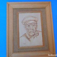 Arte: PIROGRABADO SOBRE MADERA, ANTIGUO, BIEN CONSERVADO, LIMPIO Y BONITO, 40 X 33 CM.. Lote 148595554