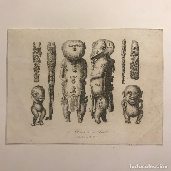 DEIDADES DE TAITÍ. 15X11 CM (Arte - Grabados - Modernos siglo XIX)