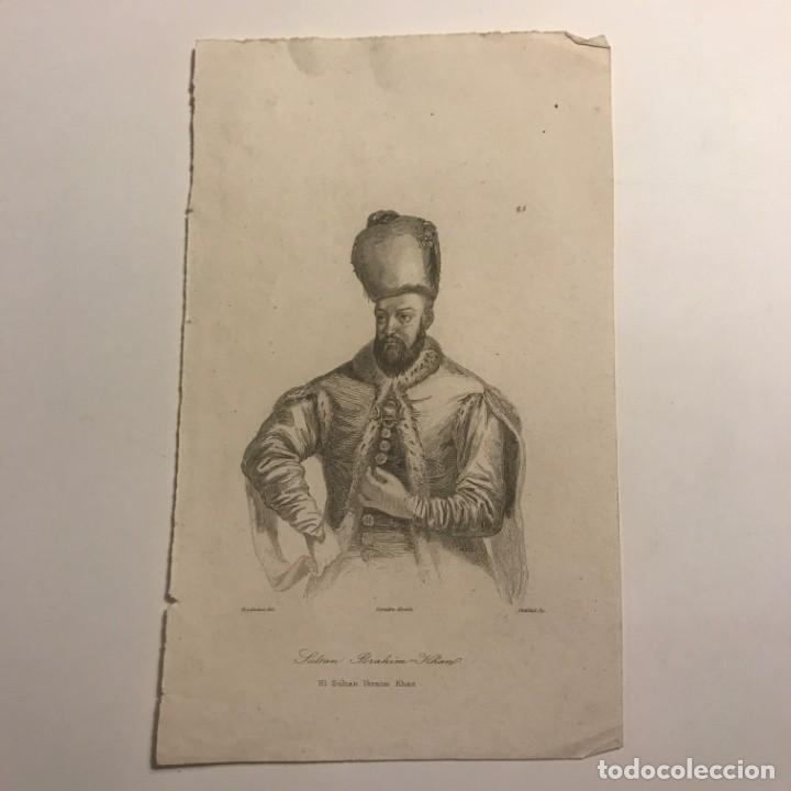 EL SULTAN IBRAHIM KHAN. H. LALAISSE, DEL. LEMAITRE DIRERIT. CHATILLOT SC 12,7X21 CM (Arte - Grabados - Modernos siglo XIX)