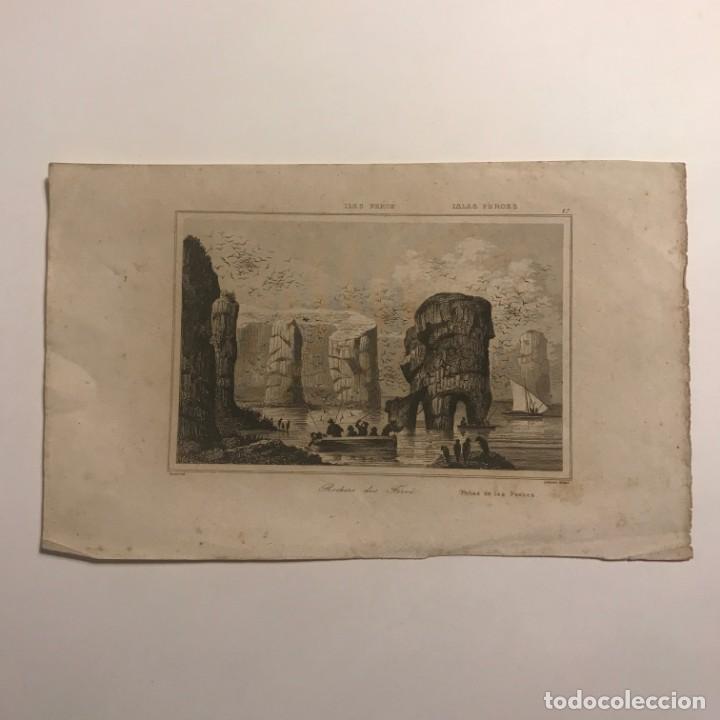ILES FEROE. ISLAS FEROES. PEÑAS DE LAS FEROES 22,5X14CM (Arte - Grabados - Modernos siglo XIX)