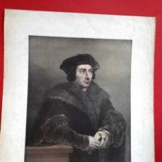 Arte: TOMAS MORO - RUBENS - DIBUJO DE MADRAZO - MUSEO DE MADRID - AGUATINTA LITOGRÁFICA - 1829. Lote 148775322