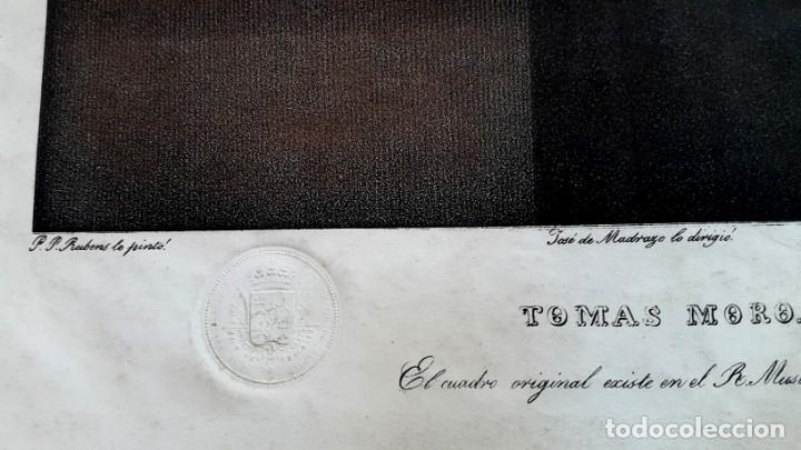 Arte: TOMAS MORO - RUBENS - DIBUJO DE MADRAZO - MUSEO DE MADRID - AGUATINTA LITOGRÁFICA - 1829 - Foto 3 - 148775322