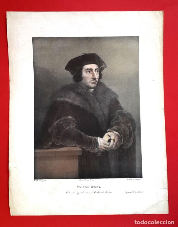 Arte: TOMAS MORO - RUBENS - DIBUJO DE MADRAZO - MUSEO DE MADRID - AGUATINTA LITOGRÁFICA - 1829 - Foto 4 - 148775322