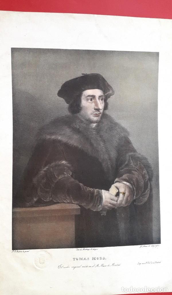 Arte: TOMAS MORO - RUBENS - DIBUJO DE MADRAZO - MUSEO DE MADRID - AGUATINTA LITOGRÁFICA - 1829 - Foto 5 - 148775322