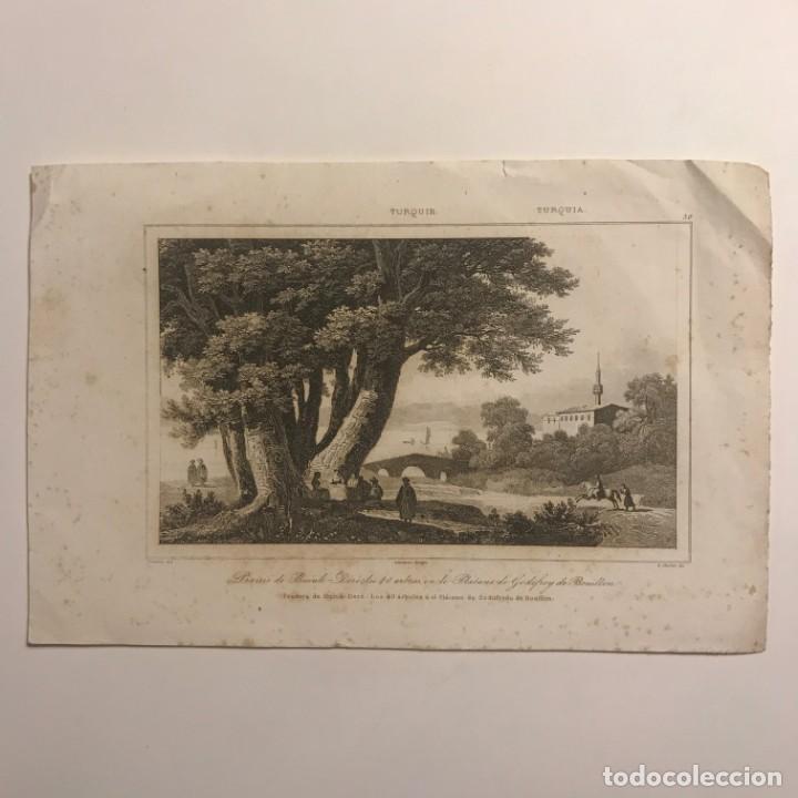 TURQUIA. PRADERA DE BURUK-DERÉ. LOS 40 ÁRBOLES Ó EL PLÁTANO DE GODOFREDO DE BOUILLON 21X14 CM (Arte - Grabados - Modernos siglo XIX)