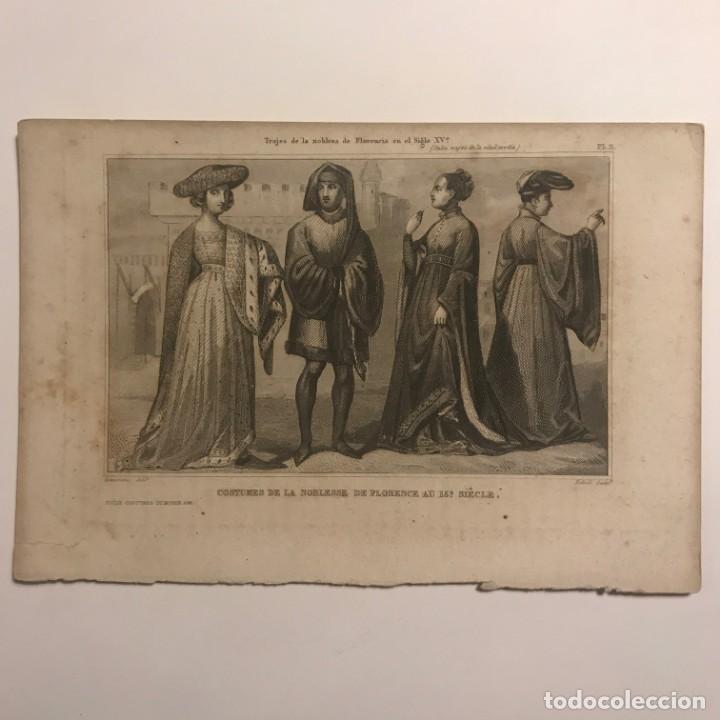 TRAJES DE LA NOBLEZA DE FLORENCIA EN EL SIGLO XV? ITALIA, TRAJES DE LA EDAD MEDIA 21,2X14,2CM (Arte - Grabados - Modernos siglo XIX)