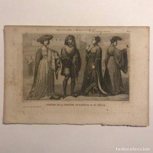 Trajes de la nobleza de Florencia en el siglo XV? Italia, trajes de la edad Media 21,2x14,2cm