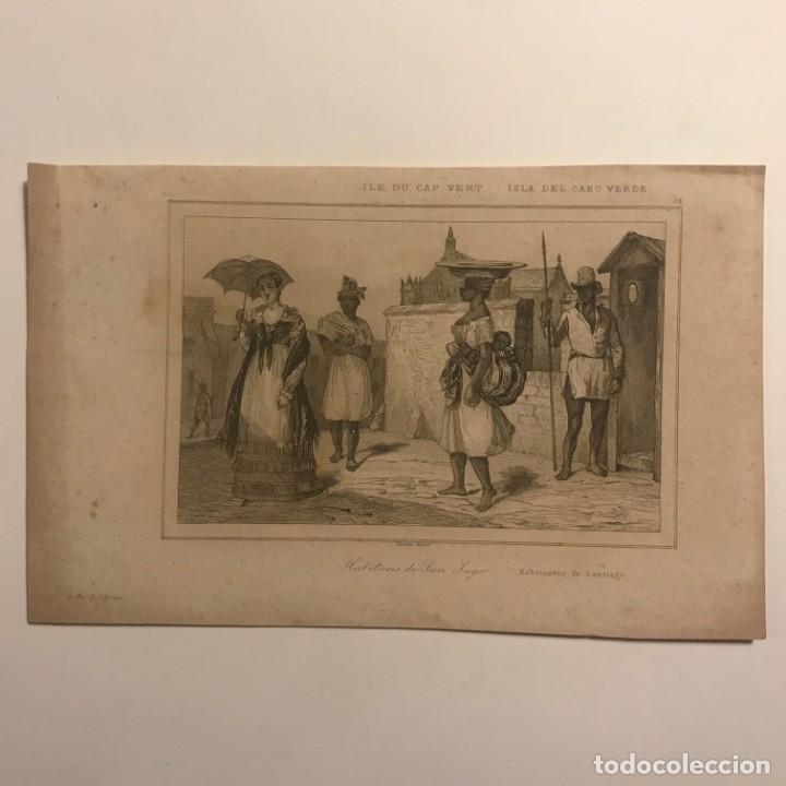 ISLA DEL CABO VERDE. HABITANTES DE SANTIAGO 21,2X13,3 CM (Arte - Grabados - Modernos siglo XIX)