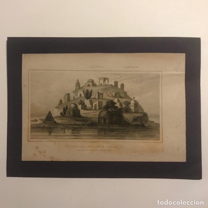 TARTARIA. SEPULCROS EN UNA ISLA DEL RÍO SIR 18X25 CM (Arte - Grabados - Modernos siglo XIX)