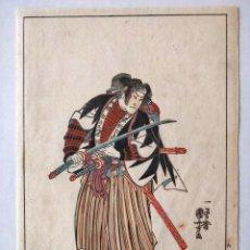 Arte: GRABADO JAPONÉS ORIGINAL DEL MAESTRO KUNIYOSHI, CIRCA 1850, GUERRERO SAMURAI, BUEN ESTADO, RARO. Lote 148899542