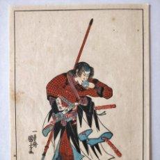 Arte: GRABADO JAPONÉS ORIGINAL DEL MAESTRO KUNIYOSHI, CIRCA 1850, GUERRERO SAMURAI, BUEN ESTADO, RARO. Lote 148899762