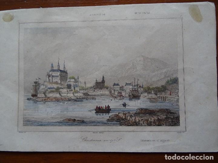 CRISTIANIA, NORUEGA, EN EL SIGLO 17, S XIX, 13 X 20 APROX (Arte - Grabados - Modernos siglo XIX)