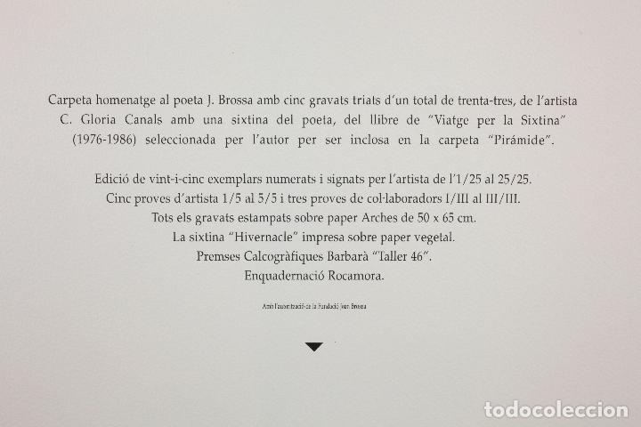 Arte: Homenatge a Joan Brossa, Glòria Canals, carpeta con 5 grabados. 68x51,5cm - Foto 12 - 206877825