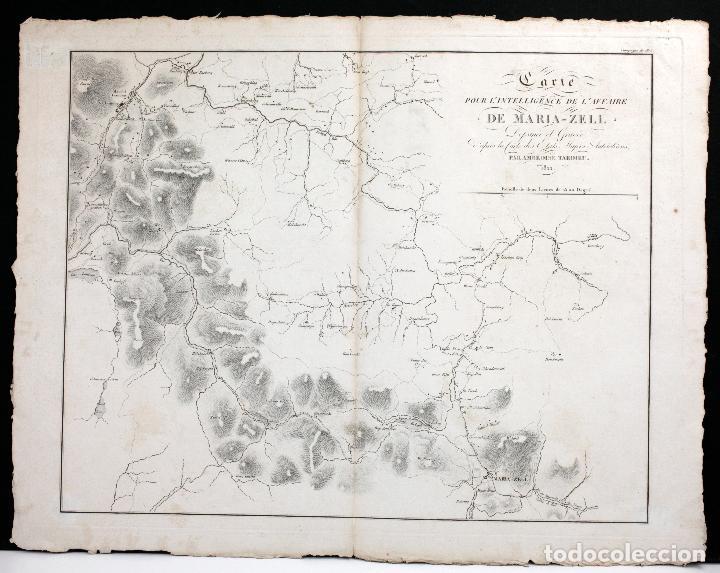 GRABADO MAPA SIGLO XIX, CARTE POUR L'INTELLIGENCEDE L'AFFAIRE DE MARIA ZELL, 1822, AMBROISE TARDIEU. (Arte - Grabados - Modernos siglo XIX)