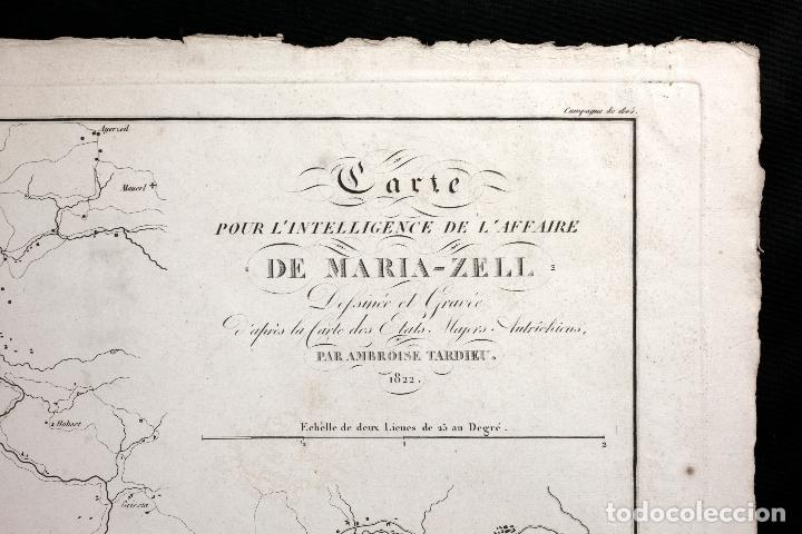 Arte: Grabado mapa siglo XIX, carte pour lintelligencede laffaire de Maria Zell, 1822, Ambroise Tardieu. - Foto 2 - 149153078