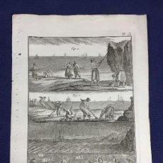 Arte: GRABADO SOBRE PESCA BERNARD DIREXIT ORIGINAL S XVIII ENCICLOPEDIA DIDEROT ET DALEMBERT PL 23. Lote 149158030