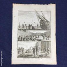 Arte: ANTIGUO GRABADO SOBRE PESCA BERNARD DIREXIT ORIGINAL S XVIII ENCICLOPEDIA DIDEROT ET DALEMBERT PL 30. Lote 149161526