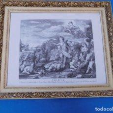 Arte: GRABADO AMERICA, 52X52 CM, PASPARTÚ, TRASERA CHAPA MADERA, MARCO DE MADERA VETEADA.. Lote 152430365