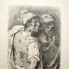Arte: GRABADO GUSTAVO DORÉ. VALENCIA. ILUSTRACIONES DE 1862 A 1864. TÍTULO: HOMBRES VALENCIANOS. . Lote 149991638