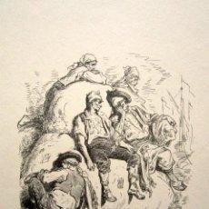 Arte: GRABADO GUSTAVO DORÉ. VALENCIA. ILUSTRACIONES DE 1862-1864. TÍTULO: TRABAJADORES DEL PUERTO ALICANTE. Lote 149993998