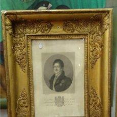 Art: GRABADO S.XIX ORIGINAL- MARCO TALLADO Y DORADO EN ORO FINO, BRUÑIDO. Lote 150010742