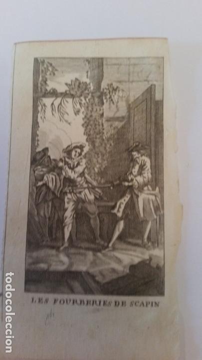 ANTIGUO GRABADO HECHO A BURIL. ESCENA CABALLERESCA. LES FOURBERIES DE SCAPIN. .SIGLO XVIII (Arte - Grabados - Contemporáneos siglo XX)