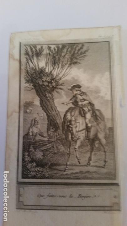 MARILLIER. GRABADO A BURIL. ESCENA GALANTE. SIGLO XVIII, (Arte - Grabados - Contemporáneos siglo XX)