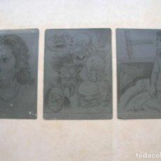 Arte: LOTE DE 3 PLANCHAS DE ZINC PARA HACER GRABADOS. ESTÁN FIRMADAS Y FECHADAS.. Lote 150786878