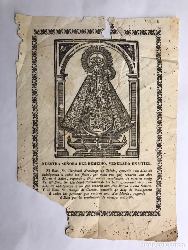 UTIEL (VALENCIA) NUESTRA SEÑORA DEL REMEDIO. GRABADO DE PEQUEÑO TAMAÑO (H.1890?) (Art - Engravings - Modern Engravings XIX century)