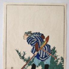 Arte: GRABADO JAPONÉS ORIGINAL DEL MAESTRO KUNIYOSHI, CIRCA 1850, GUERRERO SAMURAI, BUEN ESTADO, RARO. Lote 150956322