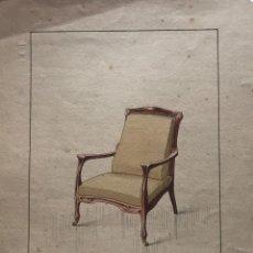 Arte: GRABADO MUEBLE ANTIGUO. SELLO TALLER DE EBANISTERÍA Y TAPICERÍA R. LLIMÓS J. VALVERDE 22,3X29,4 CM. Lote 151053926