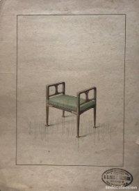 Grabado mueble antiguo. Sello taller de ebanistería y tapicería R. Llimós J. Valverde 22x29,5 cm