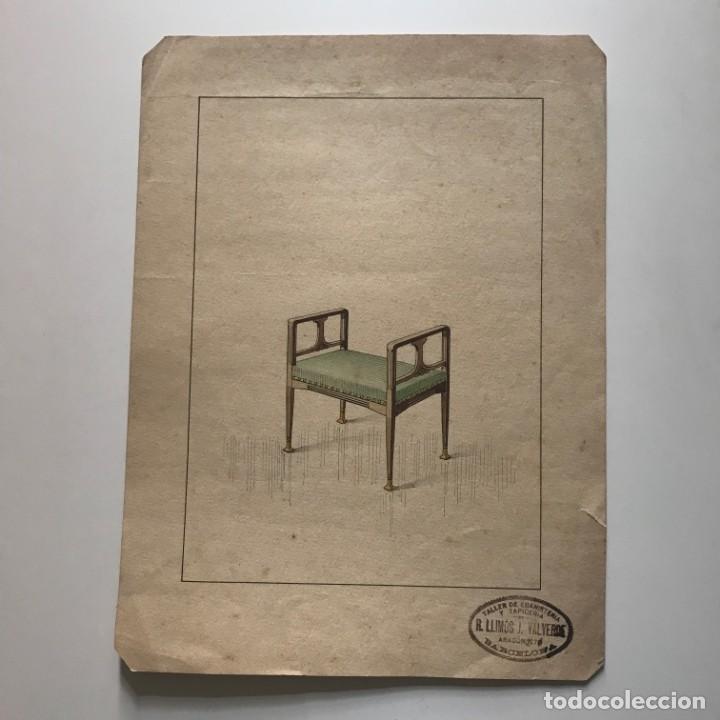 Grabado mueble antiguo. Sello taller de ebanistería y tapicería R. Llimós J. Valverde 22x29,5 cm - 151054166