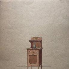 Arte: GRABADO MUEBLE ANTIGUO. SELLO TALLER DE EBANISTERÍA Y TAPICERÍA R. LLIMÓS J. VALVERDE 21,9X31 CM. Lote 151054354