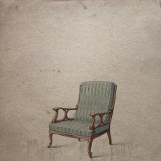 Arte: GRABADO MUEBLE ANTIGUO. SELLO TALLER DE EBANISTERÍA Y TAPICERÍA R. LLIMÓS J. VALVERDE 21,8X30,9 CM. Lote 151054538