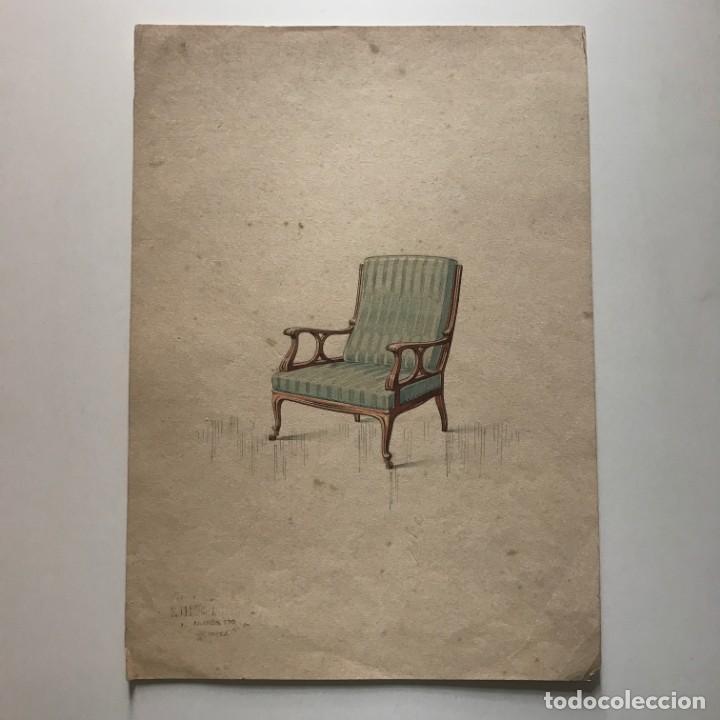 Grabado mueble antiguo. Sello taller de ebanistería y tapicería R. Llimós J. Valverde 21,8x30,9 cm - 151054538