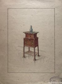 Grabado mueble antiguo. Sello taller de ebanistería y tapicería R. Llimós J. Valverde 22,3x29,5 cm