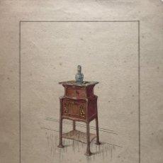 Arte: GRABADO MUEBLE ANTIGUO. SELLO TALLER DE EBANISTERÍA Y TAPICERÍA R. LLIMÓS J. VALVERDE 22,3X29,5 CM. Lote 151054742