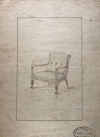 Grabado mueble antiguo. Sello taller de ebanistería y tapicería R. Llimós J. Valverde 22,1x31,7 cm