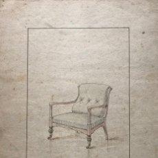 Arte: GRABADO MUEBLE ANTIGUO. SELLO TALLER DE EBANISTERÍA Y TAPICERÍA R. LLIMÓS J. VALVERDE 22,1X31,7 CM. Lote 151055342
