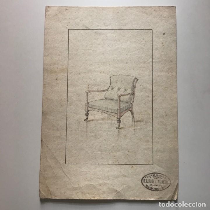 Grabado mueble antiguo. Sello taller de ebanistería y tapicería R. Llimós J. Valverde 22,1x31,7 cm - 151055342