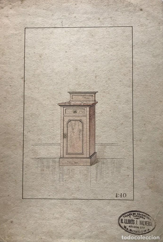 Grabado mueble antiguo. Sello taller de ebanistería y tapicería R. Llimós J. Valverde 22,1x31,6 cm