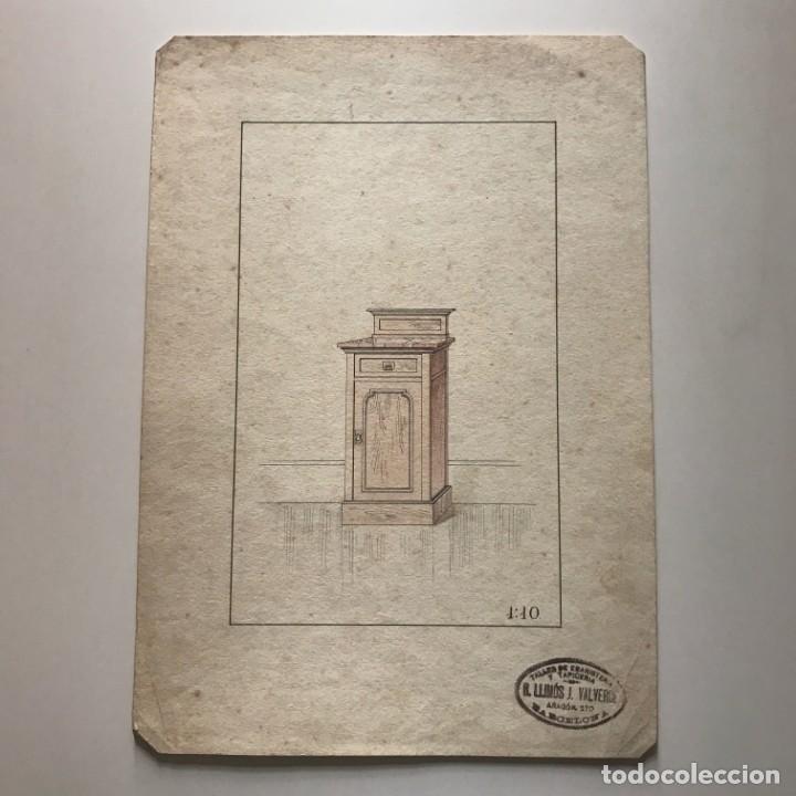 Grabado mueble antiguo. Sello taller de ebanistería y tapicería R. Llimós J. Valverde 22,1x31,6 cm - 151055486